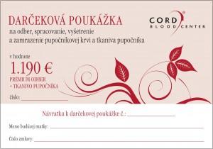 Darčeková poukážka - 1 190 Eur